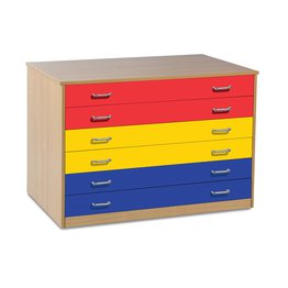 6 Drawer Plan Chest With Drawer Stops (Coloured)