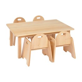 Solid Beech Rec Table & 2 packs of 2–20cm Beech Infant Chairs