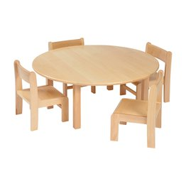Solid Beech Circular Table & 1 pack of 4–31cm Beech Stacking Chairs