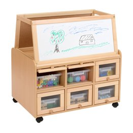 DS Unit With Doors, Dry Wipe Magnetic Easel and Shallow Trays