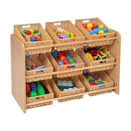 RS Classroom Tidy with 9 Wicker Baskets